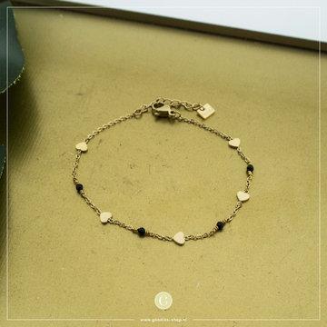By Jam Gioielli By Jam Goudkleurige Armband Hartjes & Crystal Zwart