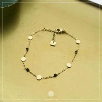 By Jam Gioielli By Jam Goudkleurige Armband Coins & Crystal Zwart