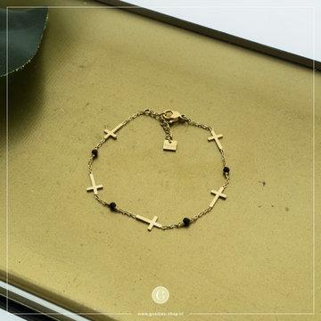 By Jam Gioielli By Jam Goudkleurige Armband Kruisjes & Crystal Zwart
