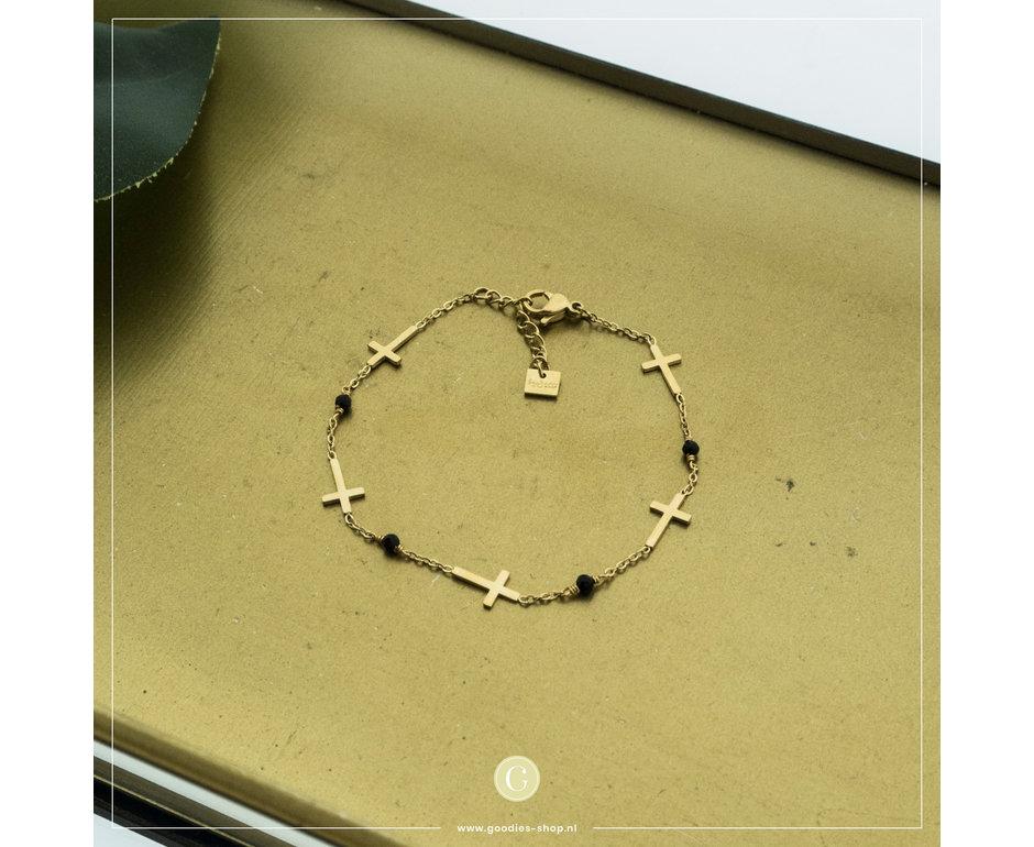 By Jam Gioielli By Jam Goudkleurige Armband Kruisjes & Crystal Zwart 5202640795