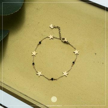 By Jam Gioielli By Jam Goudkleurige Armband Sterren & Crsytal Zwart