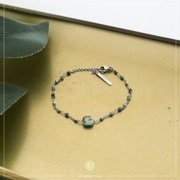 Zag Bijoux ZAG Bijoux Zilverkleurige Armband Groene Beads