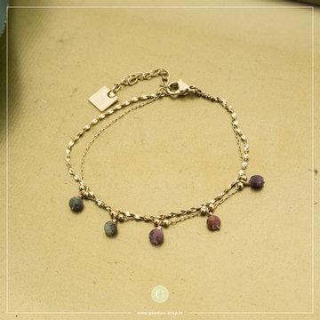 Zag Bijoux ZAG Bijoux Goudkleurige Armband Gekleurde Kralen