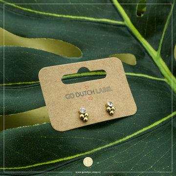 Go Dutch Label GDL Goudkleurige Oorbellen Dots Met Crystal