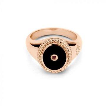 Mi Moneda Mi Moneda MMM Icons Ring Oval Rosé & Black Enamel