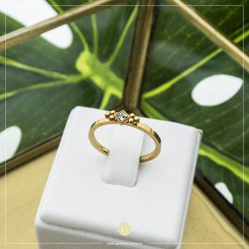 Charmin*s Charmin's R616 Royal Square Gold Steel Crystal CZ