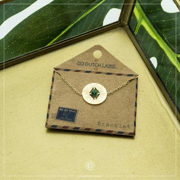 Go Dutch Label GDL Goudkleurige Armband Bedel & Blauwe Steen