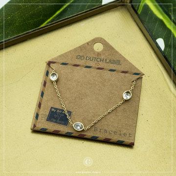 Go Dutch Label GDL Goudkleurige Armband Met 3 Crystallen
