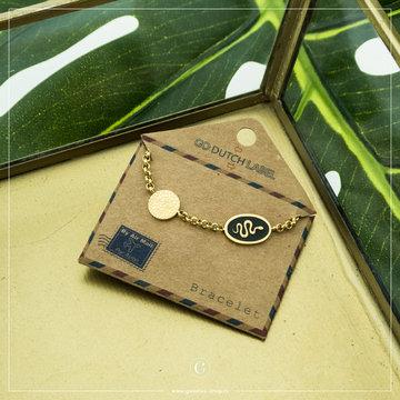 Go Dutch Label GDL Goudkleurige Armband Zwarte Bedel 16+3 cm