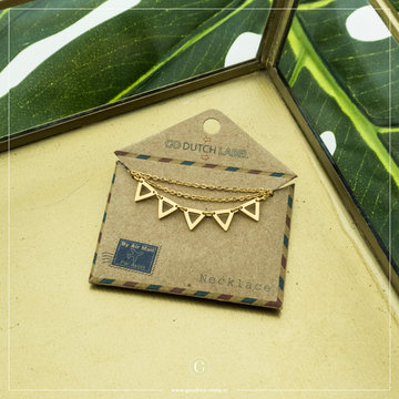 Go Dutch Label GDL Goudkleurige Ketting Open Driehoekjes 40+6 cm