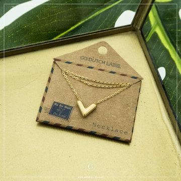 Go Dutch Label GDL Goudkleurige Ketting Letter V 40+6 cm