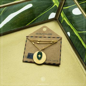 Go Dutch Label GDL Goudkleurige Ketting Cirkel & Ovaal Groen 45+6 cm