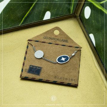 Go Dutch Label GDL Zilverkleurige Armband Blauwe Bedel 16+3 cm