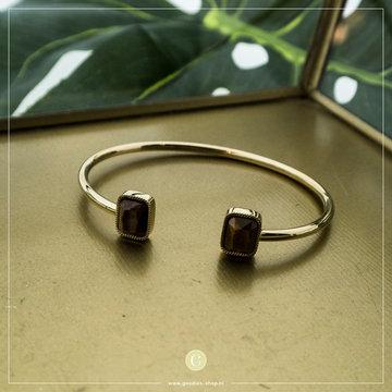 Zag Bijoux Zag Bijoux Goudkleurige Armband Bruine Stenen