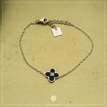Zag Bijoux Zag Bijoux Goudkleurige Armband Zwart Kruisje