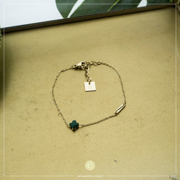 Zag Bijoux Zag Bijoux Goudkleurige Armband Groene Klaver