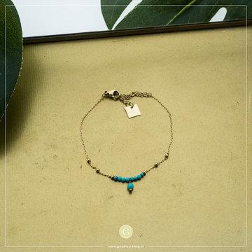 Zag Bijoux Zag Bijoux Goudkleurige Armband Turquoise Kralen