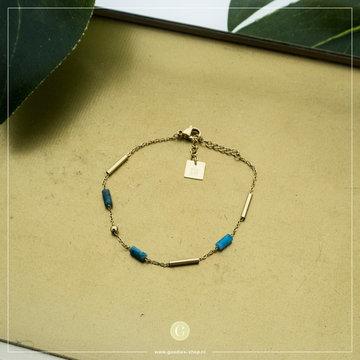 Zag Bijoux Zag Bijoux Goudkleurige Armband Met Groene Tubes