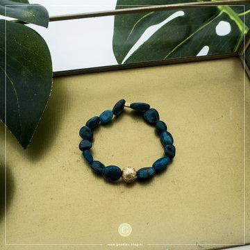Zag Bijoux Zag Bijoux Goudkleurige Armband Blauwe Stenen