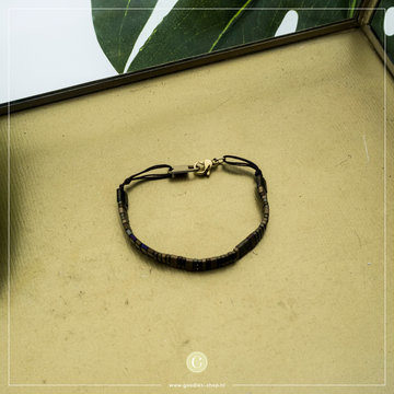 Zag Bijoux Zag Bijoux Goudkleurige Armband Bruine Kralen