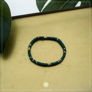 Zag Bijoux Zag Bijoux Goudkleurige Armband Groene Kralen