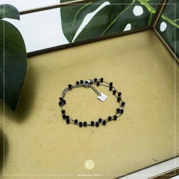 Zag Bijoux Zag Bijoux Zilverkleurige Armband Zwarte Kralen