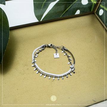 Zag Bijoux Zag Bijoux Zilverkleurige Armband 2 Laagjes & Coins