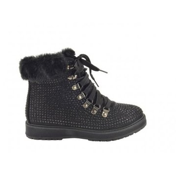 Fabs Shoes Fabs Shoes Zwarte Boots Bont & Glitters