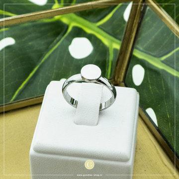 Charmin*s Charmin's Zilverkleurige Ring Met Ronde Steen