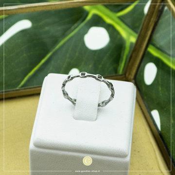 Charmin*s Charmin's Zilverkleurige Ring Vierkantjes