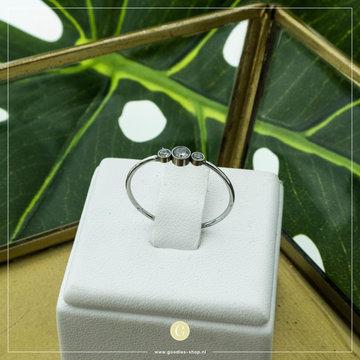 Charmin*s Charmin's Zilverkleurige Ring Shiny Crystal Triplets Steel
