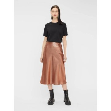 Pieces Pieces Ruffie Midi Skirt Root Beer