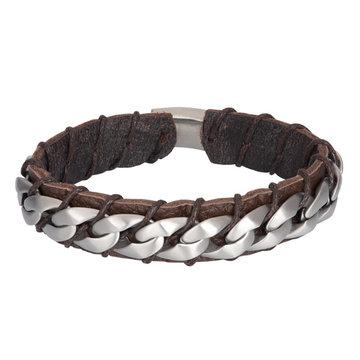 iXXXi Men iXXXi Men Bracelet Carlos Mat Zilver Bruin