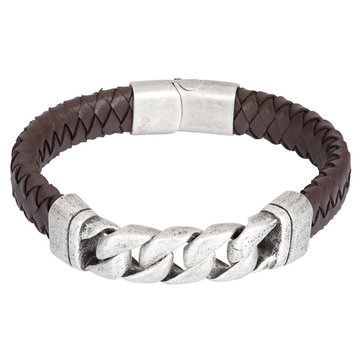 iXXXi Men iXXXi Men Bracelet Albert Mat Zilver Bruin