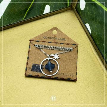 Go Dutch Label GDL Zilverkleurige Ketting Blauwe Klaver Hanger 40+6 cm