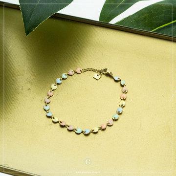 Zag Bijoux By Jam Goudkleurige Armband Ronde Pastel Beads
