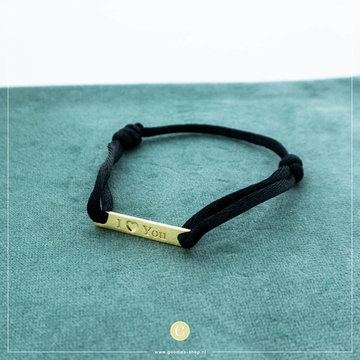 Imotionals Imotionals Silk Cord Armband I love You Goudkleurig