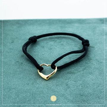 Imotionals Imotionals Silk Cord Armband Hart Goudkleurig