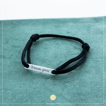 Imotionals Imotionals Silk Cord Armband Forever Yours Zilverkleurig