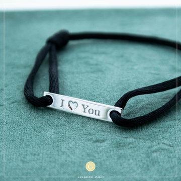 Imotionals Imotionals Silk Cord Armband I Love You Zilverkleurig