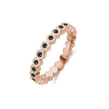 Melano Melano Friend Wave Black CZ Ring Rosé