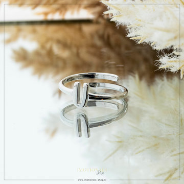 Imotionals Imotionals Initiaal Ring U Zilver