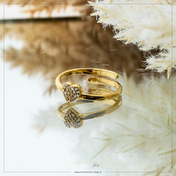 Imotionals Imotionals One Size Ring Crystal Heart Goudkleurig