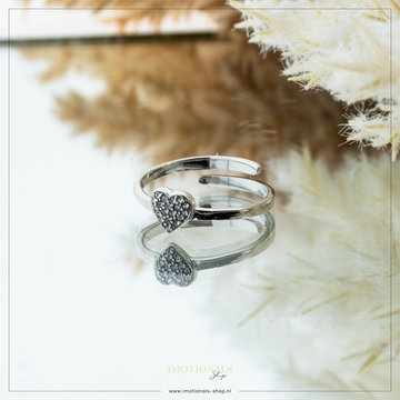 Imotionals Imotionals One Size Ring Crystal Heart Zilver
