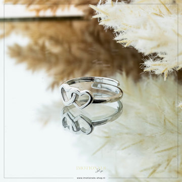 Imotionals Imotionals One Size Ring Double Love Zilver