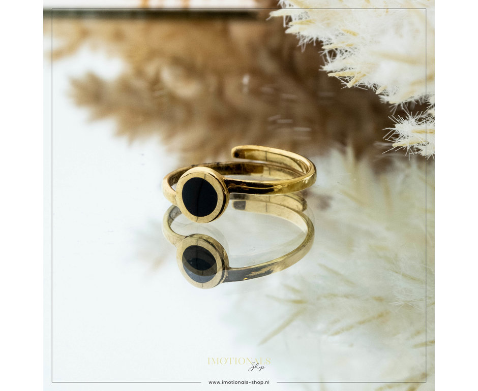 Imotionals Imotionals One Size Ring Black Stone Goudkleurig