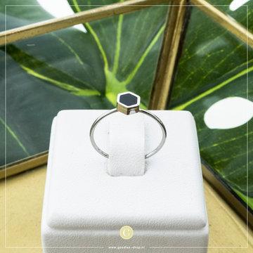 Charmin*s Charmins Ring R710 Zilverkleurig met Zwart Steentje