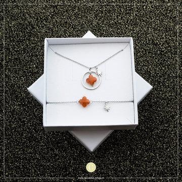 Go Dutch Label GDL Giftset Oranje Klaver & Ster Zilverkleurig