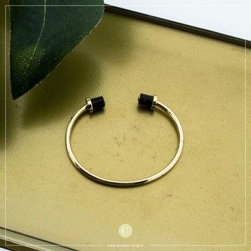 Zag Bijoux Zag Bijoux Armband Bangle Zwarte Stenen Goudkleurig