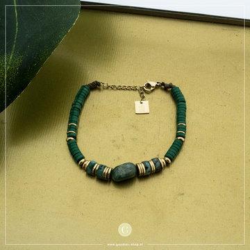 Zag Bijoux Zag Bijoux Bracelet Green Stone Goudkleurig